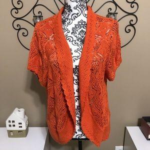 New Direction Knit Crochet Orange Cardigan 2X